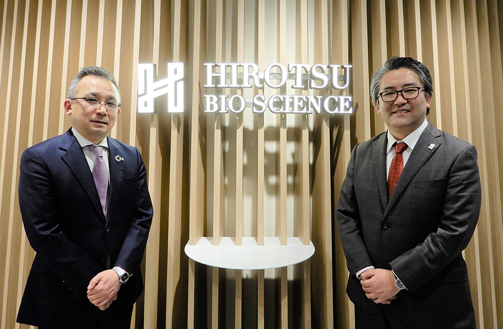 From left: Hiroshi Nakao, a Yokogawa vice president and head of the Life Innovation Business Headquarters; Takaaki Hirotsu, HBS's president and CEO
