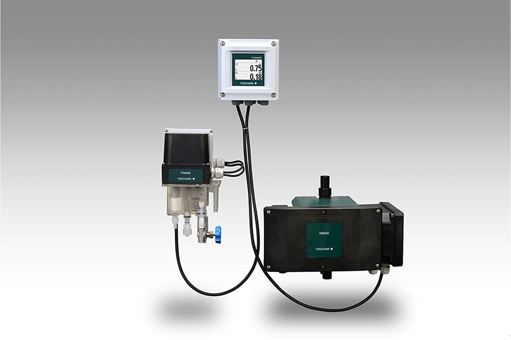 FC800D non-reagent type free available chlorine sensor unit (left), FLXA402T liquid analyzer for turbidity and chlorine (center), and TB820D right angle scattered light turbidity detector (right)